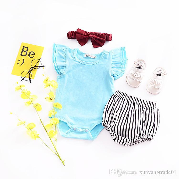 Mameluco del bebé INS Summer Boys Niñas Mamelucos Color caramelo Manga de la mosca de algodón Recién nacido Ropa de bebé Mamelucos Mono Body 237