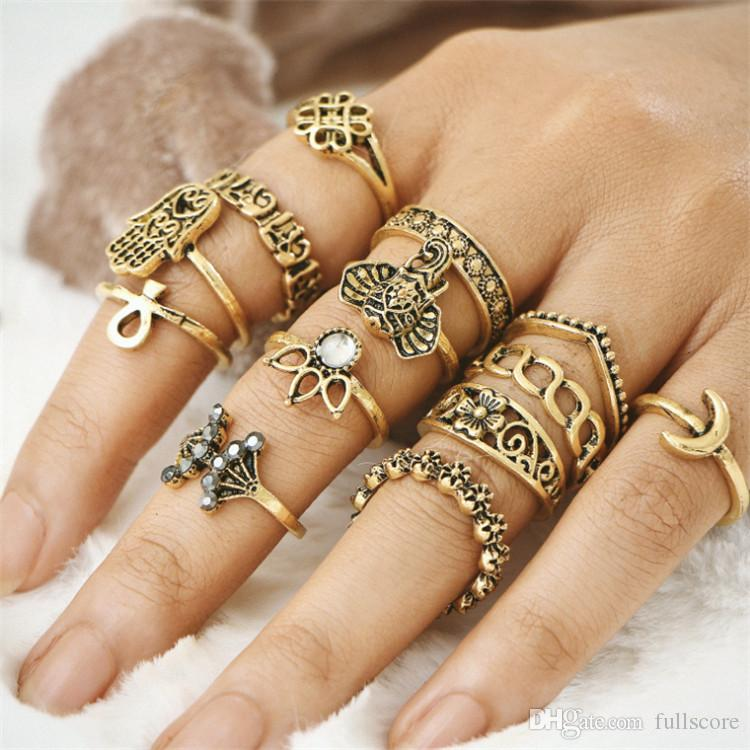 Vintage Elephant Engraving Totem Silver/Gold Color Midi Rings Set For Women Bohemian Boho Rings Party Jewelry Accessories