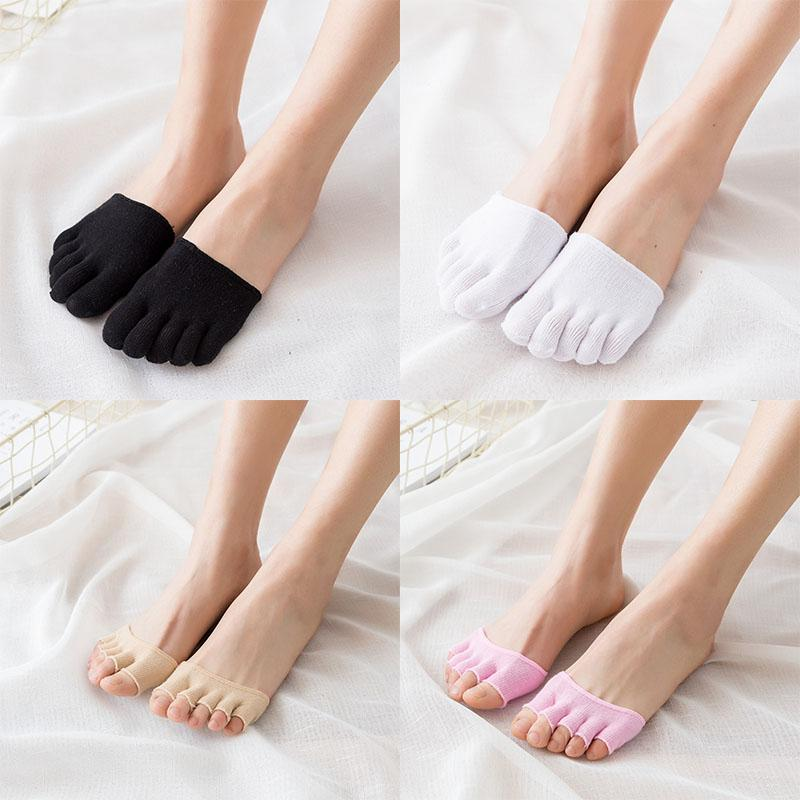 Women New style Toe Sock pad Invisible solid fashion Five finger cotton  Half foot colorful simple summer wild soft Peds & Liner