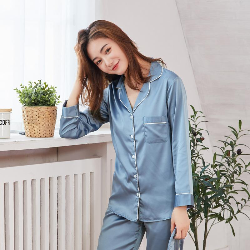 2019 Ladies Silk Pajamas Women Home Clothes Solid Matte Satin Silk Suit  Sleep Wear Pyjamas Women Pajama Set From Adeir c93f8f761