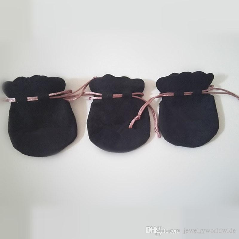 Yeni Varış Packaging Pandora Charm Boncuk Kolye Küpe Yüzük kolye Takı için Siyah Kadife Kılıfı Çanta Pembe Cord deneyin