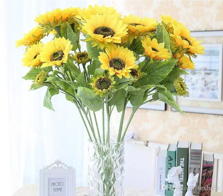 3heads/bouquet Beautiful Design New Artificial Sunflower Silk Flowers Home  Office Garden Decor Party Decoration