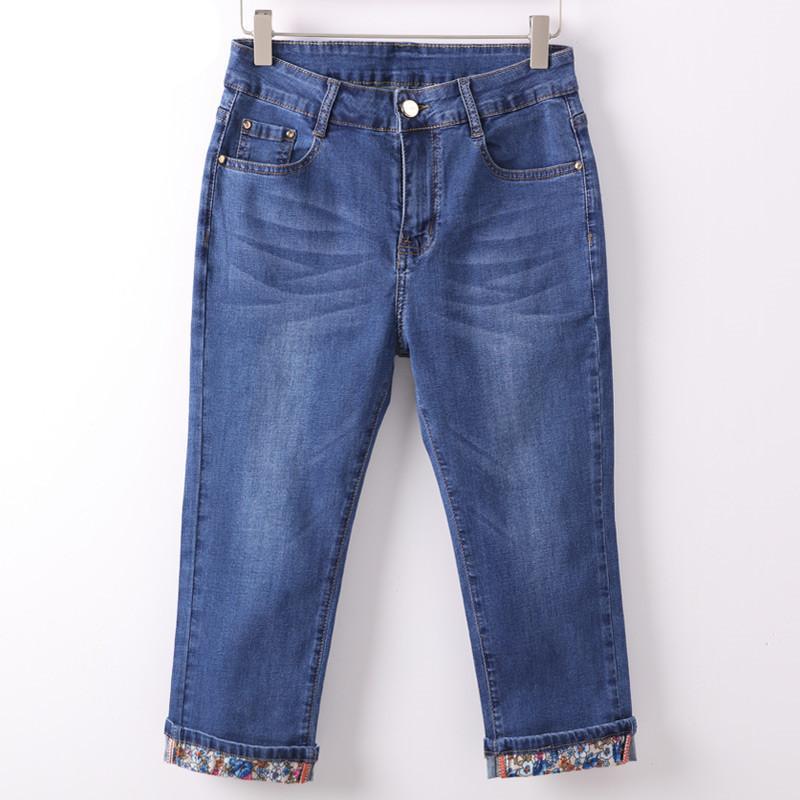 0d52635a9870df Verão Skinny Jeans Capris Mulheres Estiramento Na Altura Do Joelho Denim  Calças de Cintura Alta Jeans das Mulheres Plus Size Feminino Jean Curto ...