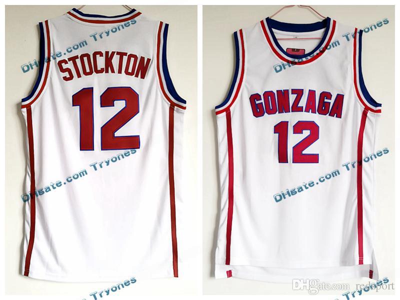 Mens Vintage John Stockton White Gonzaga Bulldogs College Basketball