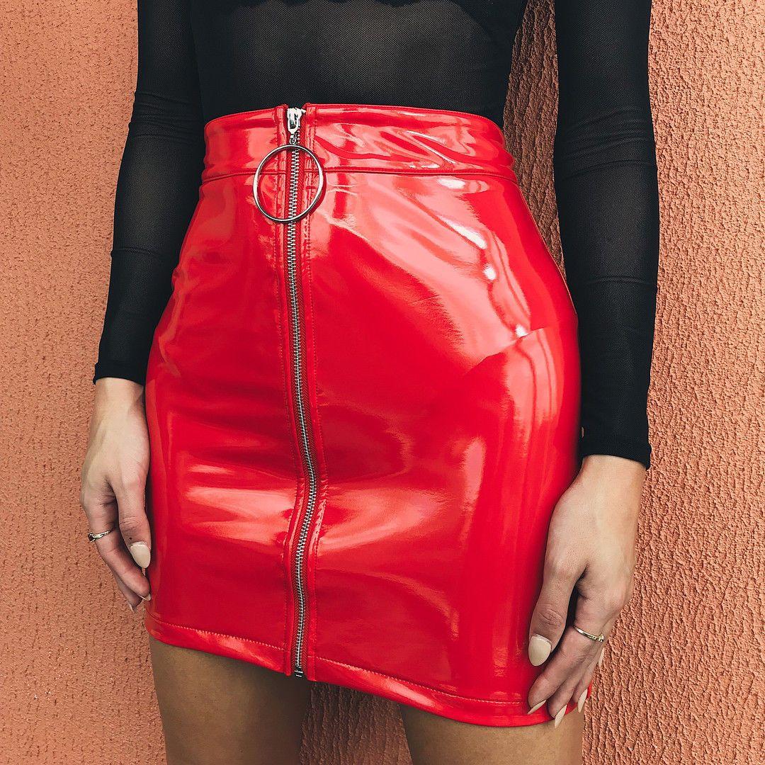 fd5de113c8 2019 Women High Waist PU Leather Mini Skirt Plain Flared Pleated Skirt  Pleated Stretch Pencil Bodycon Zipper Mini Sexy Skirts From Caicaijin06, ...