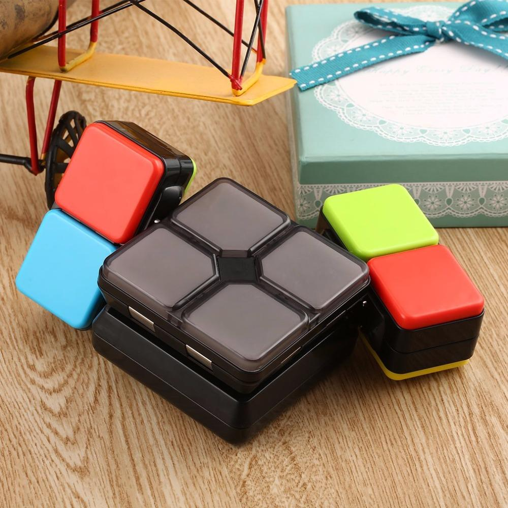 magic flip slide cube puzzle toy flipslide fold slide cube with light brain teasers 4 mode multiplayer speed level memory colour cube puzzle virtual