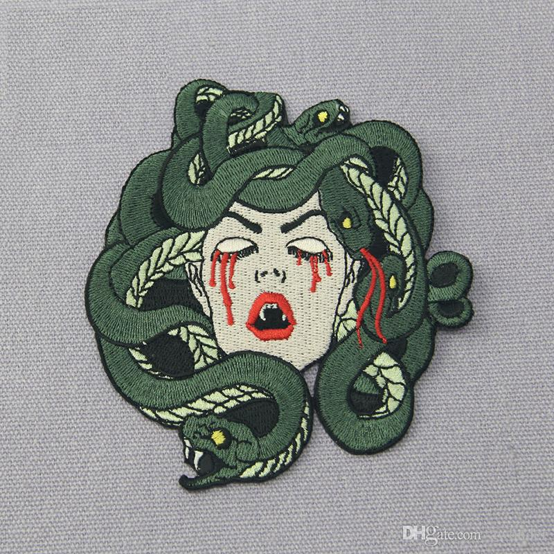 The Bleeding Medusa Mend Embroidery Patches Iron On Sewing Applique Badge Clothes Large Patch Stickers For Jackets Jeans Garment Accessories