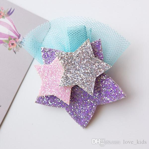 Nuovo stile Glitter Unicorn Stars Hairclips Cartoon Animal Hair Clip Cute Stereo Forcine Kids Headwear Accessori capelli le ragazze