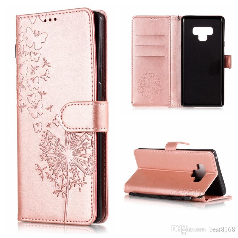 b24aded2a3b2 Emboss Butterfly Dandelion Leather Wallet Case For Galaxy Note 9 8 (J8 J7  J6 J4 J3 J2 Pro A6 A8)2018 S9 Plus Flip Cover Lotus Flower Lace