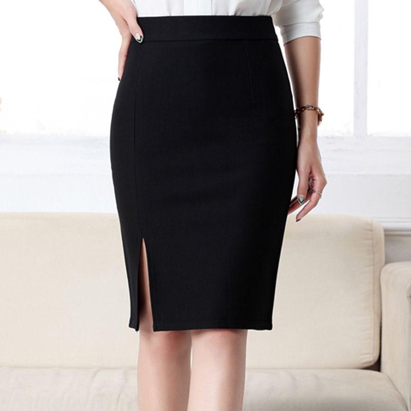 e51025a958 Compre Nuevo Lápiz Mujer Faldas Oficina De Trabajo Delgado Elegante Frente  Frontal Split Midi Falda Cintura Alta Bodycon OL Faldas De Moda Negro Gris  Rojo ...