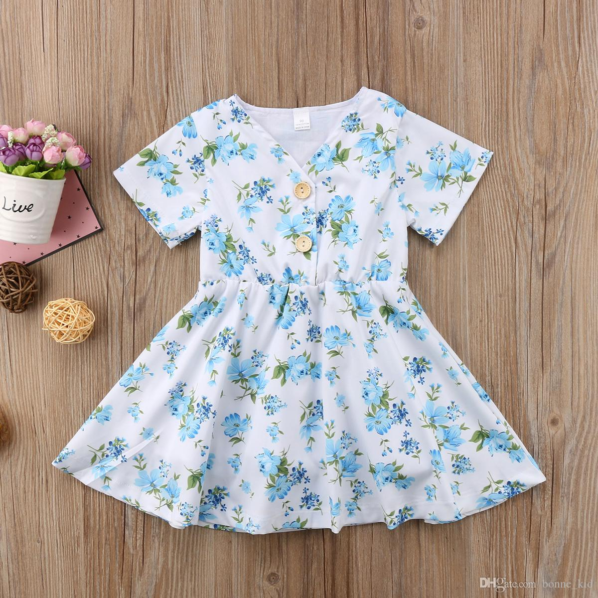 3e40aa204 2019 Retro Floral Baby Girls Princess Tutu Dresses Blue Flower Girl  Boutique Dress Clothing Toddler Clothes Party Wedding Dresses Kid Clothes  From Bonne_kid ...