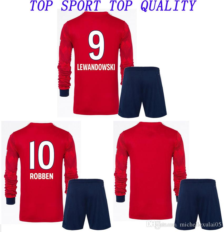5e5dd7816 Compre 18 19 De Manga Longa De Futebol Jersey Para Lewandowski 2018 19  Ribery Robben Muller Tolisso Manga Longa Kits De Futebol Adulto Uniforme  Esportivo De ...
