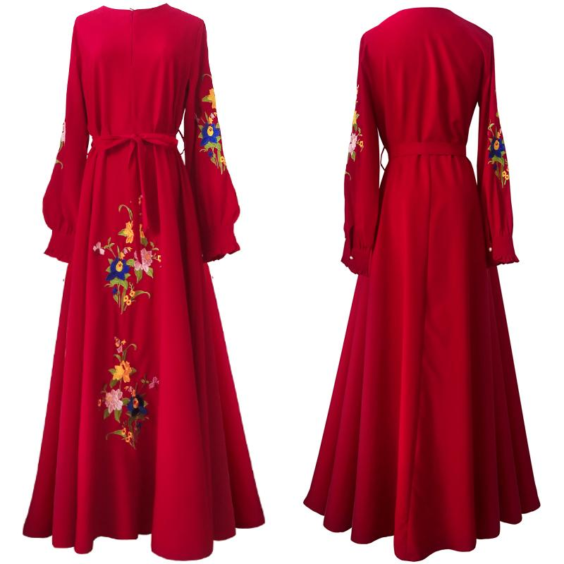 HANZANGL Autumn 2018 New Muslim Women Long Sleeve Dress Middle Eastern  Embroidered Dress Casual Vintage Long Robe Dresses Cheap Dresses HANZANGL  Autumn 2018 ... a71fd6cedbcd