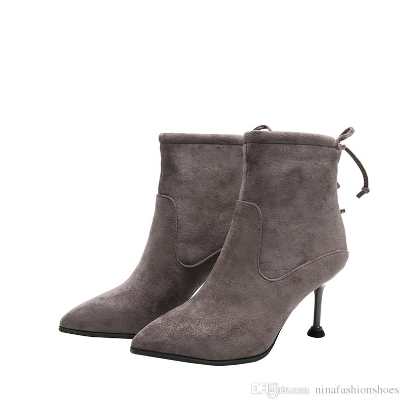 913e7664303 New Stretch Fabric High Heels Ankle Boots Women For Autumn Winter Fashion  Pointed Toe Back Zip Women Boots Boots Office Shoes From Ninafashionshoes,  ...