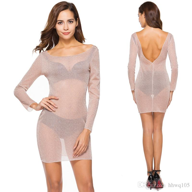 85c73e3b4208 2018 Hot Sexy Sheer Club Kleid Für Frauen Langarm Backless Mini Bodycon  Kleid Slim Fit Night Out Party Kleider CSH0129
