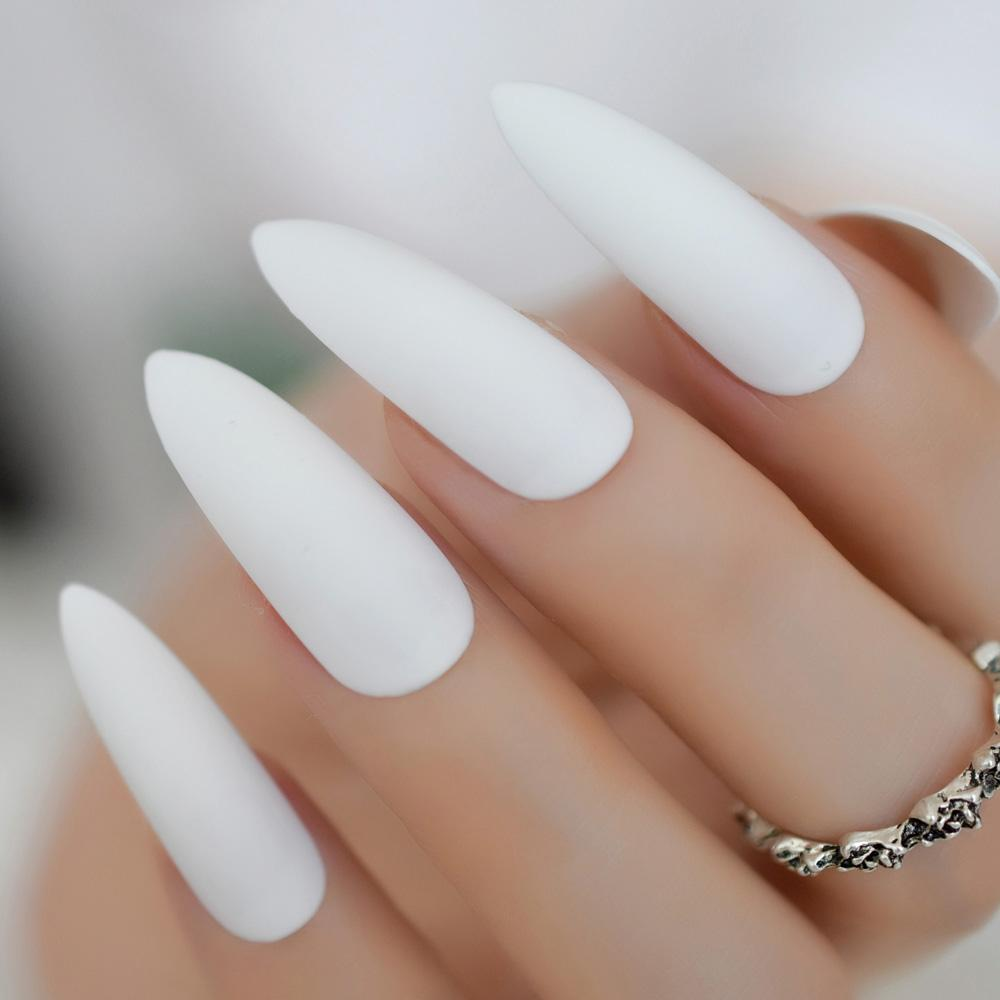 Super Long Frost Press On Nails Custom Pure White Stiletto ...