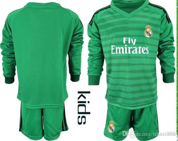 new product 69018 524d5 2018 2019 Kids Long Sleeve Real Madrid Soccer Set Goalkeepe Kit Keylor  Navas 25 Courtois Goalkeeper Madrid Jersey Bale Shirt Full Uniform