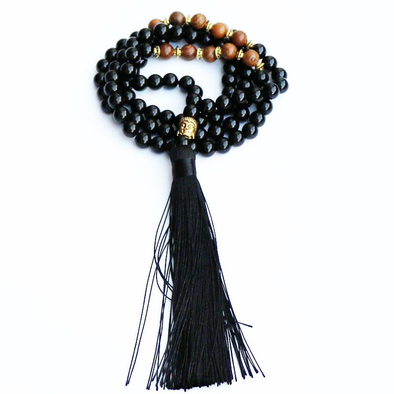 2018 Trendy Jewelry Men Black Stone Wood Beads Necklace with Gold Buddha Charm Black Tassel Pendants Mens Rosary Necklaces