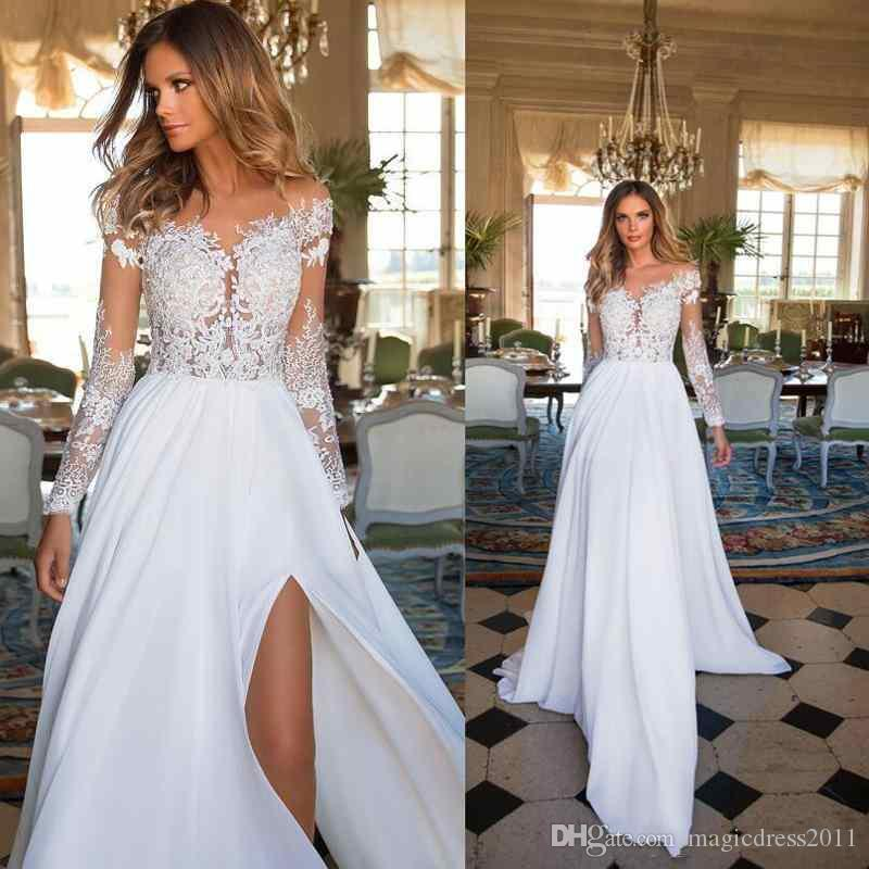 2019 Boho Empire Princess Wedding Dresses Sexy Thigh-High Slits Sheer Neck Long Sleeve Lace Bridal Gown Illusion Tulle Back Vestido De Novia