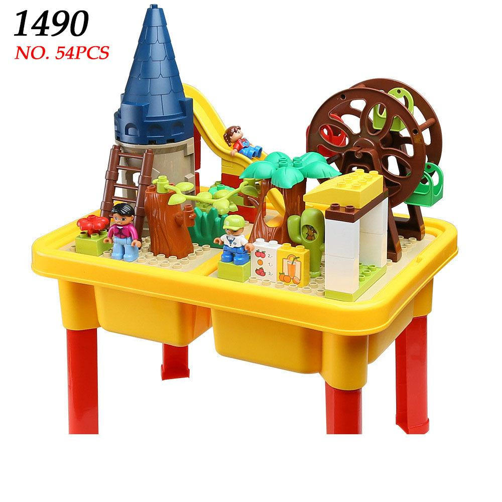 Aiboully 1490 Building Block Table Homes Park Ferris Wheel Fun Large Blocks  Assembling Toys For Children Compatible With Duplo Building Blocks For 3  Year ...