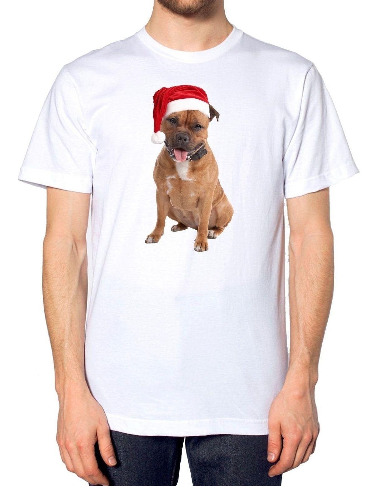 Staffordshire Bull Terrier Staffie Santa Hat Christmas T Shirt Puppy Dog Owner