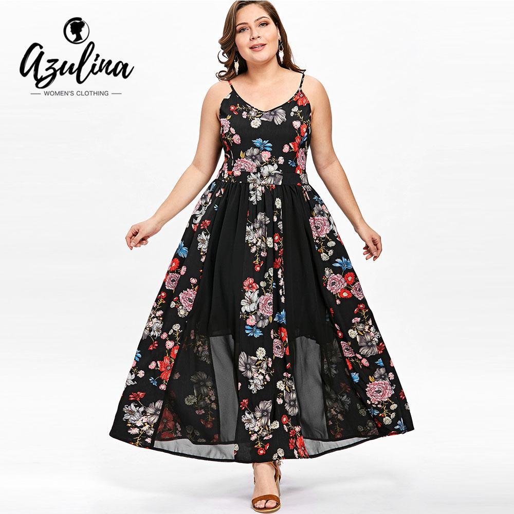 b3df1f73e71 2019 AZULINA Plus Size Floral Flowy Bohemian Dress Women Boho Spaghetti  Strap Sleeveless Long Dresses Summer Beach Dress Vestidos 5XL From  Balsamor