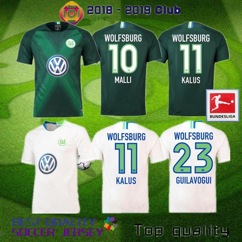 Compre Alemanha VfL 2018 2019 Wolfsburg Camisa De Futebol 18 19 Home Klaus  Distância Malli VfL Wolfsburg Mehmedi ROUSSILLION Ntep Guilavogui Camisas  De ... 84de67a186729