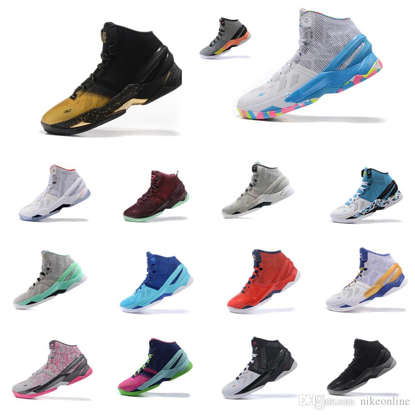 ecbfe3290bdd 2019 Cheap Women UA Curry 2 Basketball Shoes Championship MVP Black Gold  White Birthday Youth Kids Stephen Currys Two Sneakers For Sale With Box From  ...