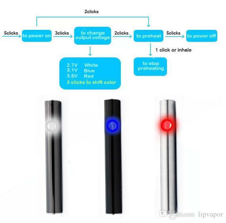 Preheating Battery 5S-C3C 380mah Variable Voltage 2.7V-3.1V-3.6V Pre-heat Preheat Oil Cartridge Vaporizer Pen for for CE3 G2 cartridge vape