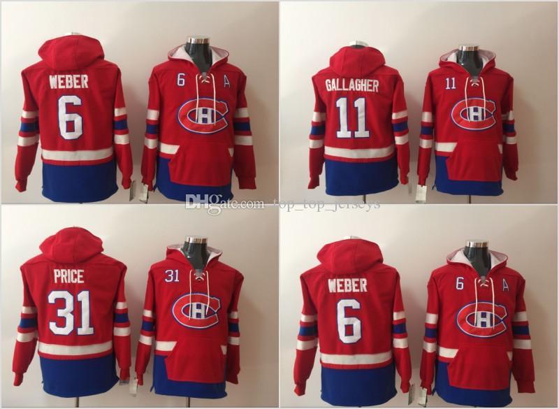 Mens Montreal Canadiens Hoodies Hockey Jersey 6 Shea Weber 11 Brendan  Gallagher 31 Carey Price Sweatshirts Winter Jacket Hockey Jerseys Online  with ... 49570e726