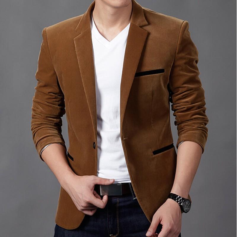 a1f3c833ad3 2018 Men S Jacket Brand Clothing Casual Coat Blazer Men Slim Fit Jacket Men  Corduroy Wedding Dress Plus Size Single Button Suit S1031 Blue Jacket  Hockey ...