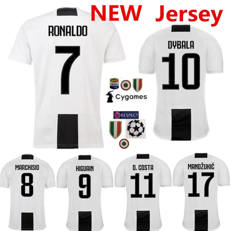 new product ae18c 44976 Thai New RONALDO JUVENTUS Soccer Jersey Men 18 19 7 JUVE CR7 9 Higuain 10  Dybala 11 Costa 17 Mandzukic Football Shirt uniforms