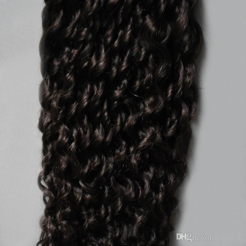 # 2 Mais Escuro Marrom afro crespo crespo fita em extensões do cabelo humano 100g cabelo virgem encaracolado brasileiro 40 pçs / set Cabelo Trama Da Pele