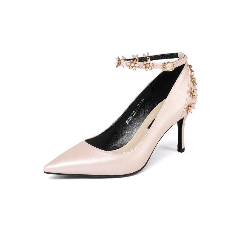 78f09a0f50db67 Großhandel Pumps Pink 7.5cm High Heels Echtes Leder Pumps Damen Stiletto  Damen Schuhe Round Toe Blumen Schuhe Knöchelriemen Einstellbar Von  Fordolls