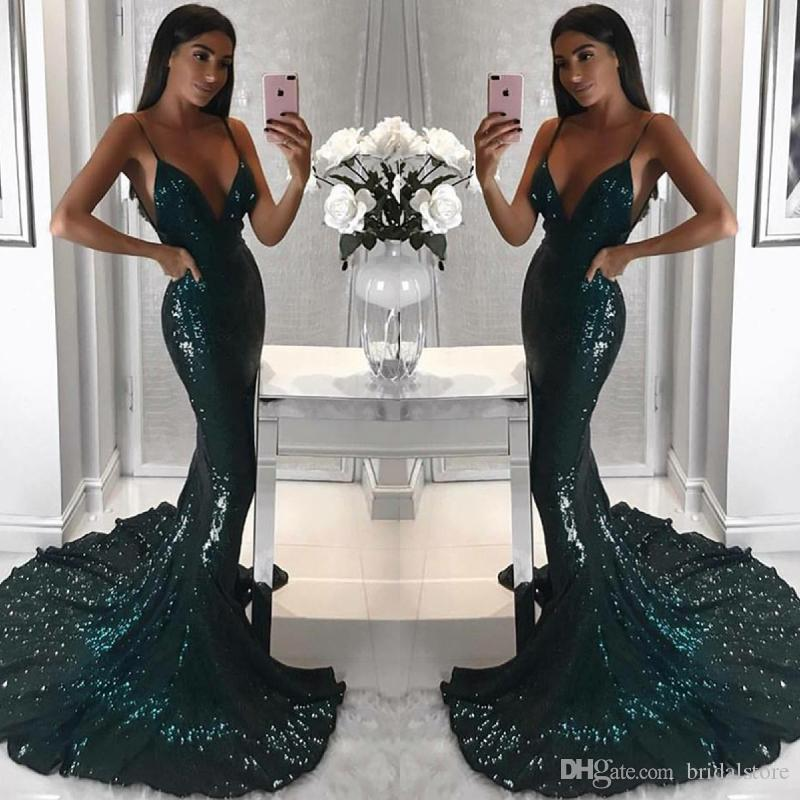 f4ee58a3be Sparkly Sequins Dark Green Mermaid Prom Dresses Sexy Spaghetti Straps Bling  Backless Party Dress Sweep Train Cheap Long Pageant Evening Maix Cheap  Beautiful ...