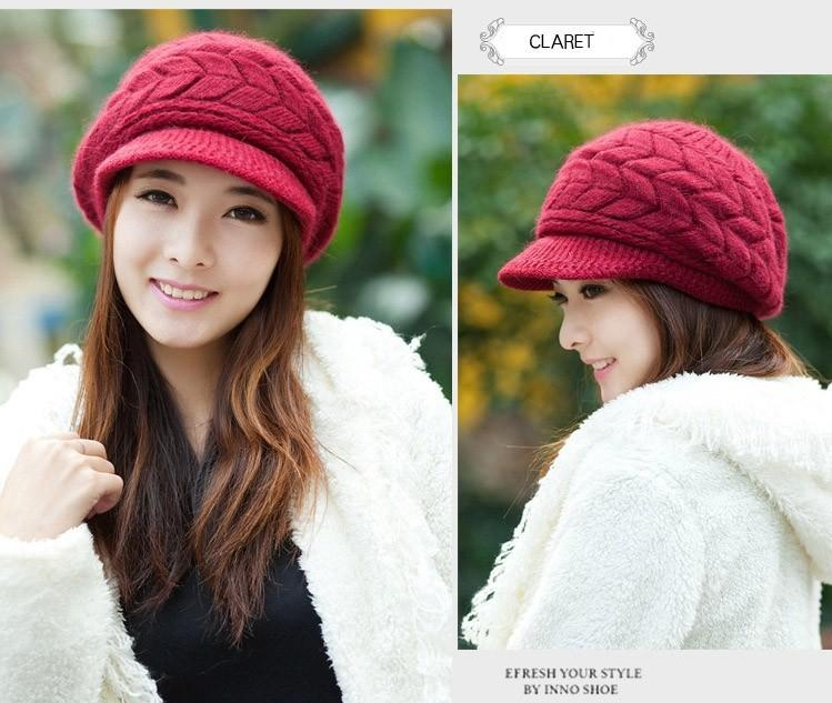 Rabbit Hair Hat for Women Winter Beanies Knitted Hats Solid Color Rabbit Fur Cap Ladies Fashion Skullies & Beanies for Female