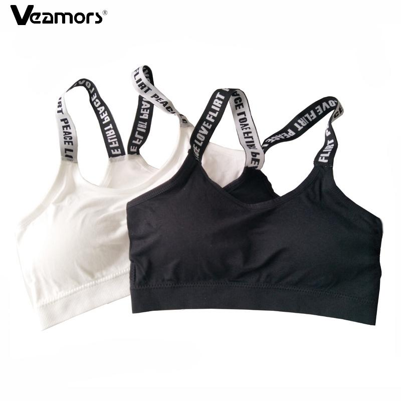5731f66867 2017 Women Seamless Padded Sport Bra Letters Straps Absorb Sweat Fitness  Yoga Bras For Gym Workout Running Vest Sport Crop Tops UK 2019 From Neyei