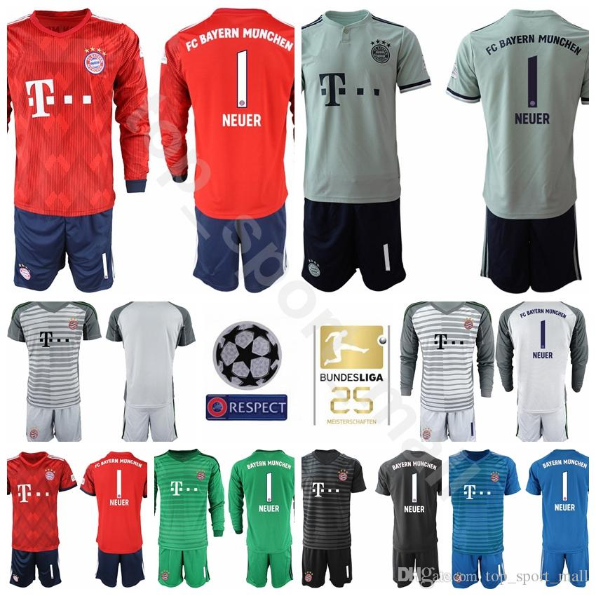 71fcd1f2556 2019 18 19 Bundesliga Goalkeeper Bayern Munich Soccer 1 Manuel Neuer Jersey  Men GK Red 26 Sven Ulreich 1 Oliver Kahn Football Shirt Kits From  Top_sport_mall ...