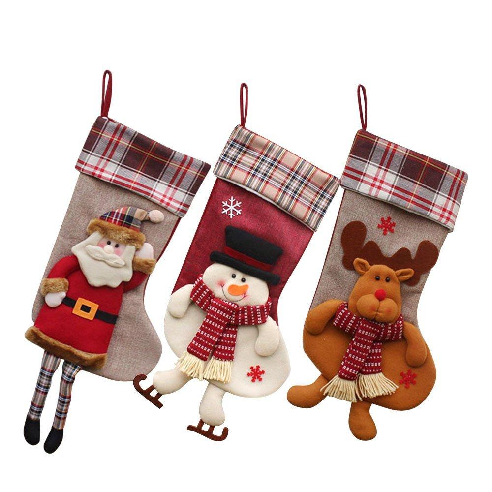 classic christmas stockings 18 cute santas toys stockings plush 3d applique style felt christmas detailed designs house decoration christmas house