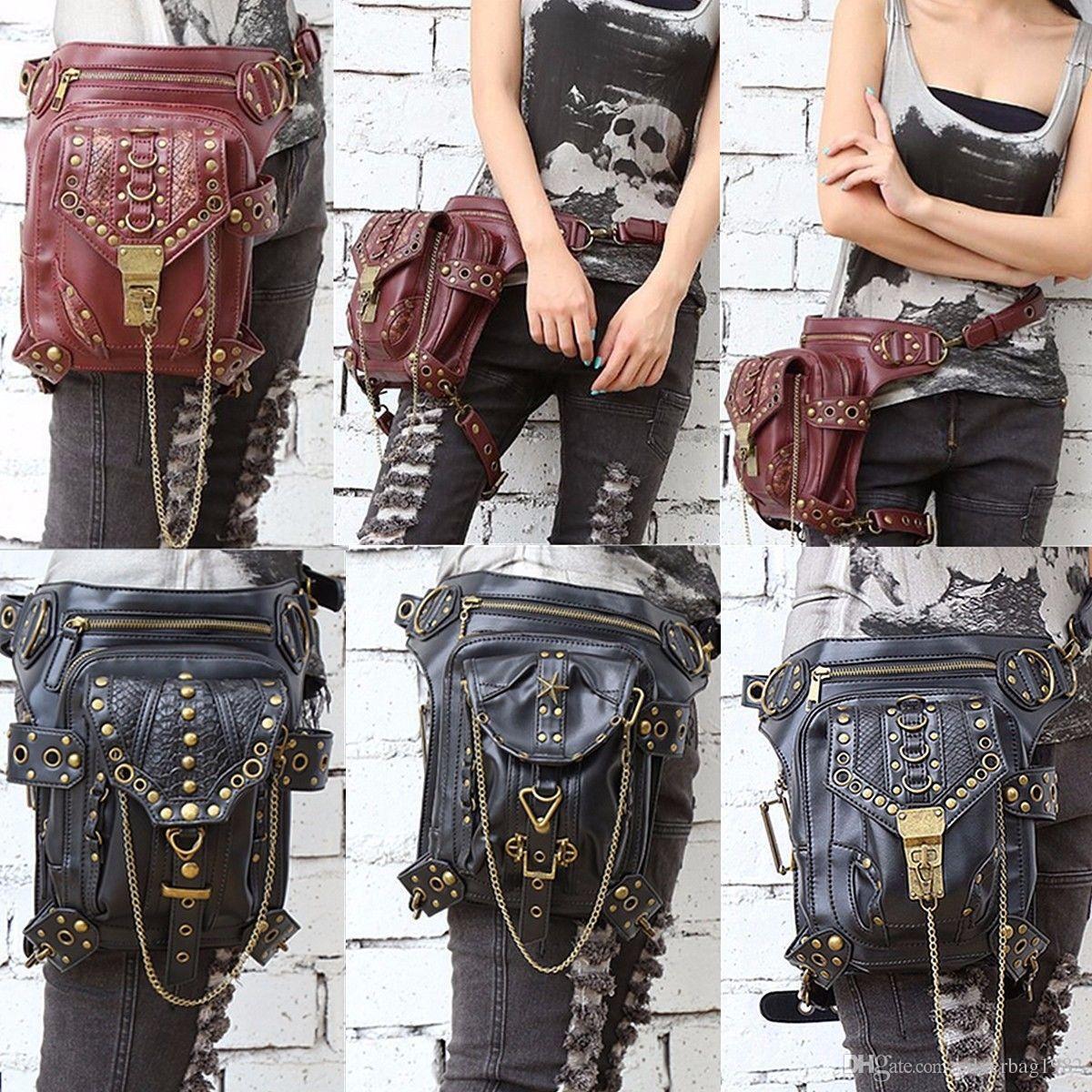 a7e5a5b253c Men Women Leather Steampunk Belt Bag Waist Leg Hip Holster Cyberpunk Pouch