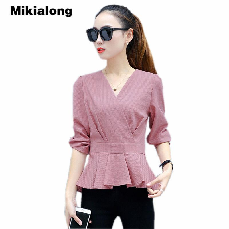 cd4f0b601b9 Mikialong Pleated Peplum Women Tops V-neck Elegant Ladies Office ...