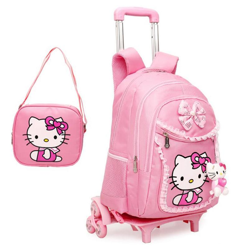 2d4ae07f7 Hello Kitty Trolley School Bag For Girls Removable Cartoon School Backpack  On Wheels Children Bookbag Kids Schoolbag Mochila Large Durable Backpacks  Sack ...