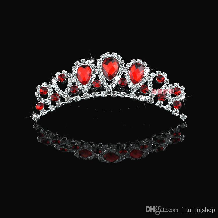 In Stock Cheap Beautiful Elegant mitation Pearl Rhinestone inlay Crown Tiara Wedding Bride's Hair Comb Crowns for Prom Party Evening