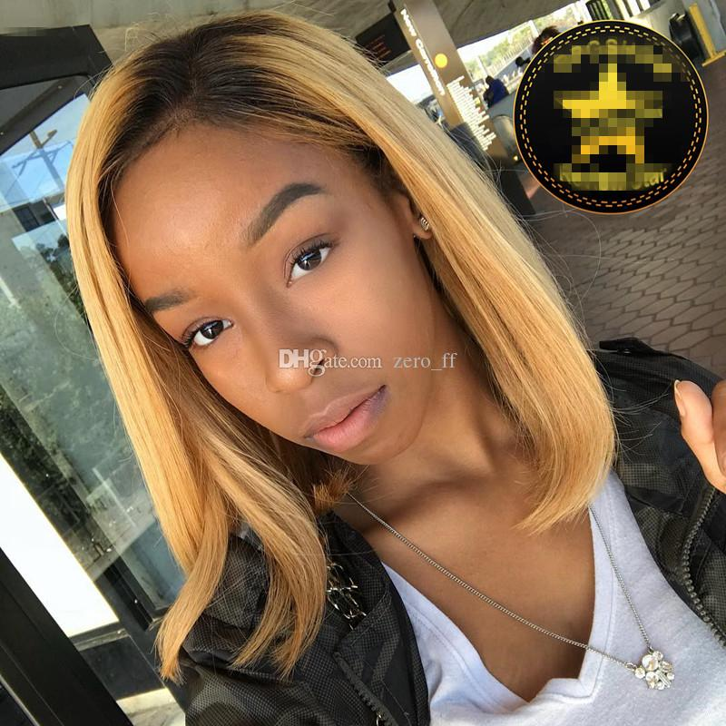 Brazilian Virgin Human Hair Glueless Full Lace Ombre Wig Bob Style Two Tone 1B/27 Bob Wig Ombre Lace Front Wigs