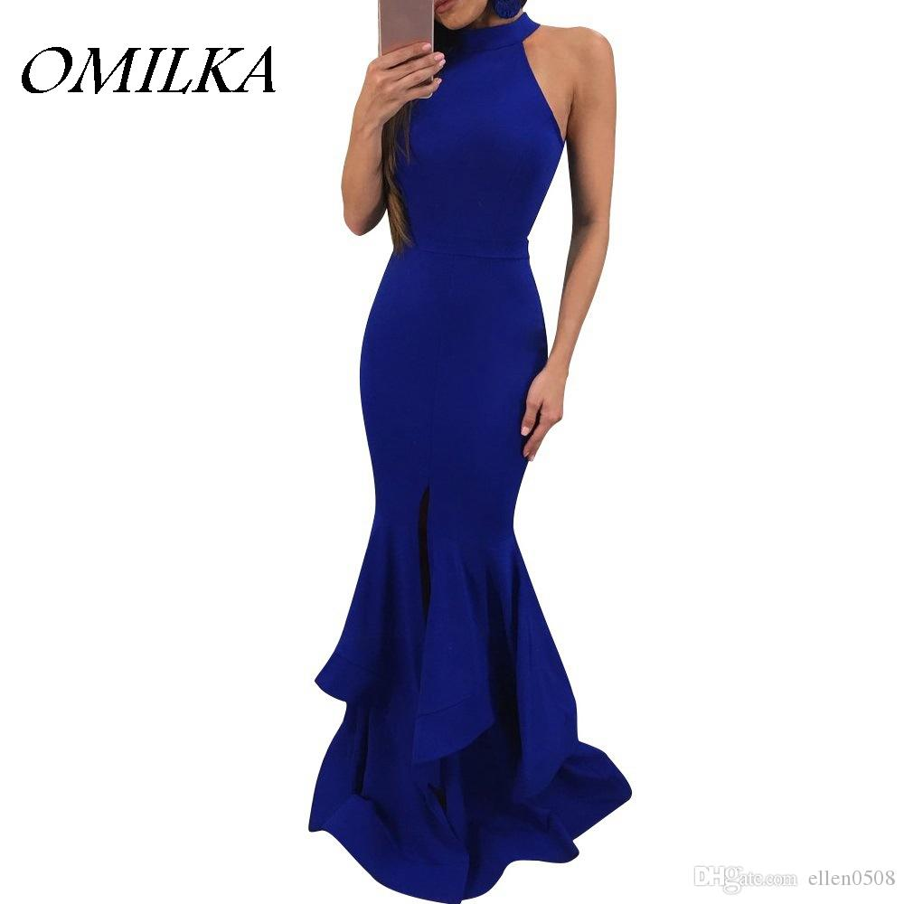 OMILKA 2018 Summer Women Turtleneck Sleeveless Ruffle Long Maxi Dress Sexy  Black Blue Red Club Party Big Swing Bodycon Dress Dressing For Women Black  Dress ... 2b4425db8c08