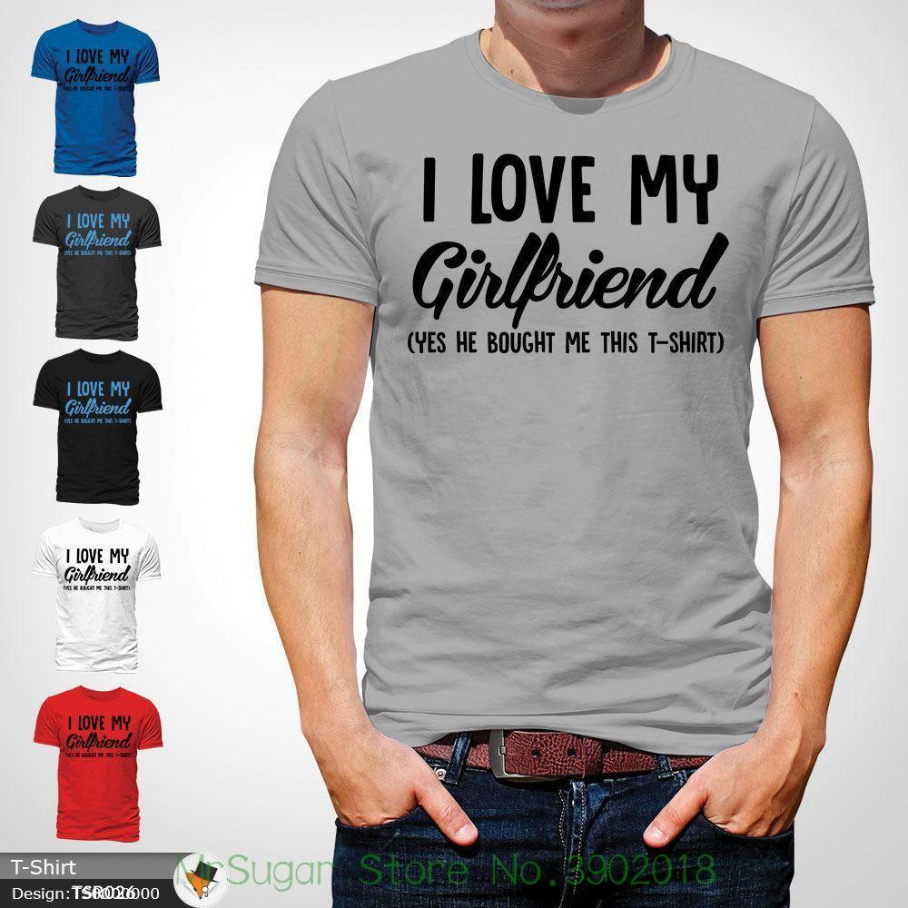 8c5fee42 I Love My Girlfriend Mens T Shirt Funny Anniversary Top Boyfriend Tee Gift  Gray! Men T Shirts Short Custom Shirt Black Shirts From Mrsugarstore, ...