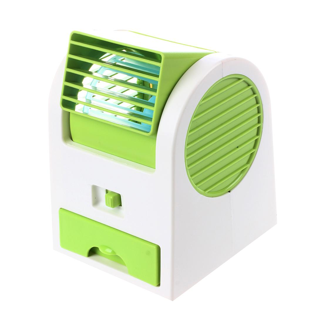 Adjustable Angles Scented USB Electric Air Conditioning Mini Fan Air Cooler Green&white