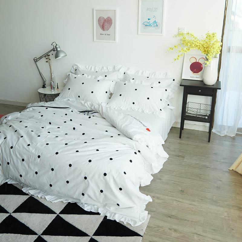 Polka Dot Bedding Sets Queen Size Embroidery Duvet Cover Twin Cotton Bed  Sheets Bed Set King Size Bedding Set Fairy Bedding From Waxer, $127.51|  Dhgate.Com