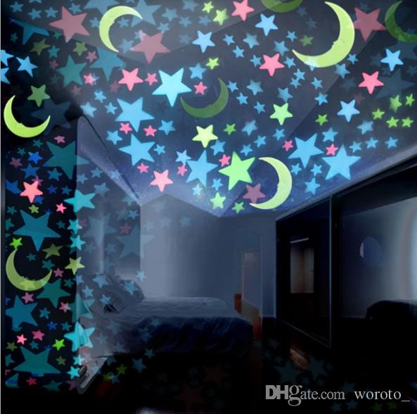 3d stars moon luminous wall stickers glow in dark for kids room home