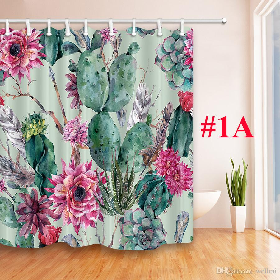 2019 Bath Curtain Fabric Tropical Cactus Shower Waterproof Polyester For Bathroom Decorate With Plastic Hooks 180cm180cm From Wellmi
